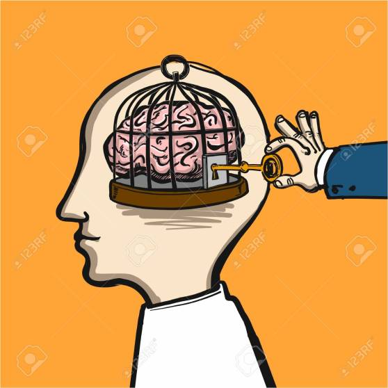opening mind - conceptual vector illustration of cage in head wi